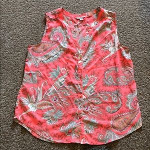 Bright coral pink paisley American Eagle blouse